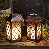 [Set of 2] TAKE ME 11' Solar Lantern,Outdoor Garden Hanging Lantern-Waterproof LED Flickering Flameless Candle Mission Lights for Table,Outdoor,Party