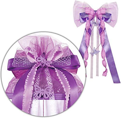 alles-meine.de GmbH große 3D Effekt - Schleife - für Schultüte - Schmetterlinge - lila & violett - 24 cm breit u. 60 cm lang - mit edlen Satin Bändern + Spitzenband + Schmetterli..