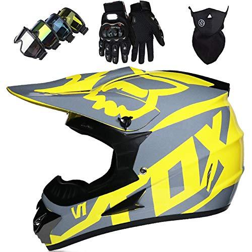 OTBKNB Cascos Integrales Infantil con Guantes Gafas Máscara, Aprobado Dot Conjunto Casco Motocross Motocicleta Adultos Casco Protector Offroad Dirt Bike con Diseño Fox, Limón Amarillo