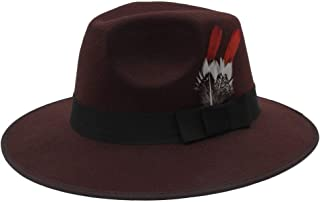 Hat Fashion Top Hat Wedding Hat Groom Hat Younger Hat Film Wedding Chinese Wedding Costume Feather Hat Fedora Hat Fashion Accessories (Color : Brown, Size : 56-58CM)