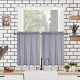 LinTimes Lot de 2 rideaux gris à étages, courts rideaux de fenêtre résistants à l'eau pour salon/cuisine/café avec motif gaufré texturé en relief, 76,2 x 76,2 cm, gris, lot de 2