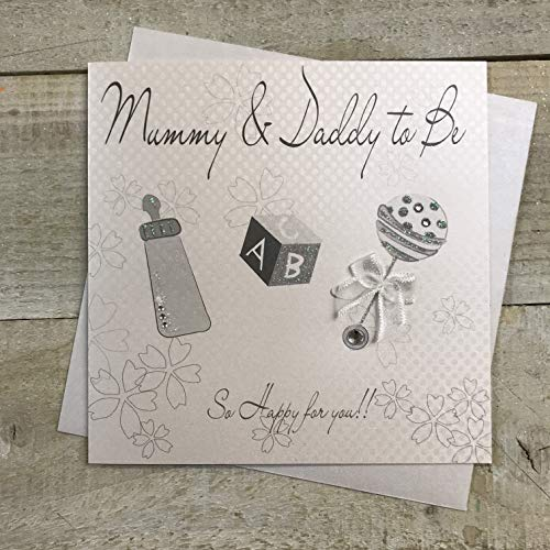 Hochet en coton blanc avec inscription « Mummy and Daddy To Be » (argent)