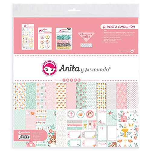 Anita y Su Mundo Primera Comunión Niña Kit Scrapbooking, Rosa, 30,5x30,5cm, 5