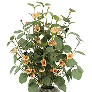"AMF0RESJ 27.5"" Artificial Spring Green Eucalyptus Leaves Stems, Greenery Eucalyptus Branches 3PCS with Pink Silk Cherry Blossom and pip Berries for vase Home Wedding Decor"