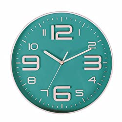 Zaoniy Non-Ticking Silent Quartz Wall Clock with Big 3D Number Modern Design Quiet Sweep Movement Indoor Decorative for Living Room Kitchen Wall Clocks Battery Operated 10-Inch (Bluegreen)