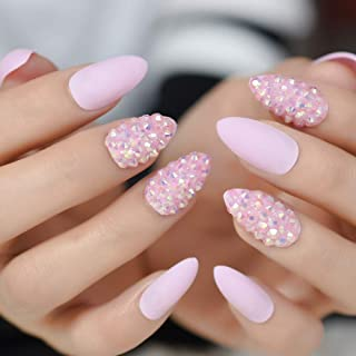 CoolNail Jelly Pink Glitter Stiletto False Nail Almond Nail Art Tips 3D AB Rhinestones Fake Nails Press on Daily Wear, Many Options