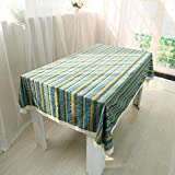 ZYT Waschbar, schmutzabweisend, pflegeleicht, hochwertig,Tischdecke aus Baumwolle und Leinen Tischdecke im Ethno-Stil/Tischdecke aus Leinen Tischdecke grüner Streifen 90 * 90cm