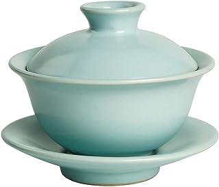 XinLin Du 世界のRu三カバーティーカップ紺碧手作り単一茶碗茶碗蓋に関してボウル式 (Color : Azure)