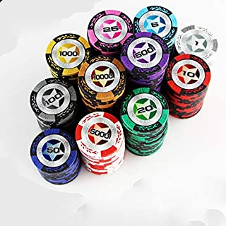 Arshily - 11 PCS/Set 11Colors Poker Chips 14g Clay/Iron/ABS Double-Sided All Denomination