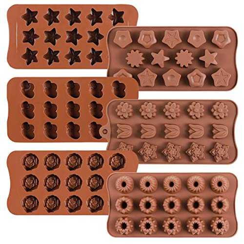 6 Pack Flower Heart and Star Shape Silicone Molds Chocolate Candy Mold, Danzig Silicone Mold for Wedding,Festival, Parties, DIY Enthusiasts-15 Cavity