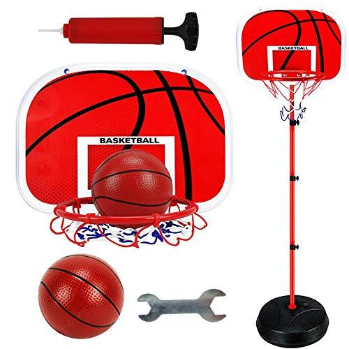 iBelly Canasta de Baloncesto con Soporte Soporte de Baloncesto Ajustable en Altura con Inflador para Niños Deportes al Aire Libre en Interiores