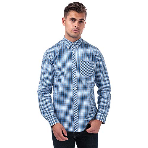 Mens Ben Sherman LS House Check Shirt in Blue