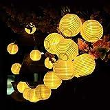 Qomolo Guirnaldas de Luces Solar,30 LED 8 Modos Farolillos Solares Exterior, Solar Farol Iluminación Jardín Decoración con Control Remoto, 6.5 Metros con Cable de 2 m Cable