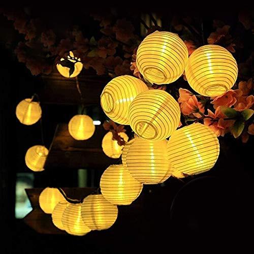 Solar Lampion Lichterkette Draussen Qomolo Wasserdicht 8 Modi Lichterkette Balkon 30er LED Solar Lampions Laterne Aussen Dekoration mit Fernbedienung für Garten Balkon [Energieklasse A++]