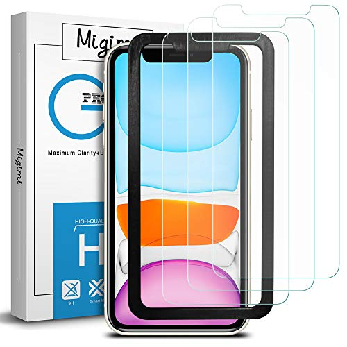 Migimi Protector de Pantalla para iPhone 11/XR, [3 Unidades] Cristal Templado 9H Dureza Anti-Huellas Dactilares, Alta Sensibilidad, Vidrio Templado película Protectora para iPhone 11/XR (Transparent)