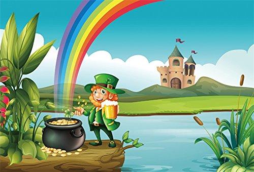 YongFoto 1,5x1m Photographie Toile de Fond Happy St. Patrick's Jour Lucky Irish Shamrock Farfadets Pot Doré Rainbow River Château Nuage Blanc Dessin animé Photo Fond Enfant bébé Adultes Portraits