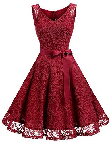 Dressystar DS0010 Brautjungfernkleid Ohne Arm Kleid Aus Spitzen Spitzenkleid Knielang Festliches Cocktailkleid Dunkel Rot L