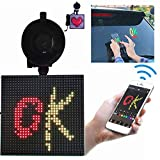 12 V Animation Car LED Display Screen,Adjustable emoticon Controll LED Picture Lights & Mini Accent Spotlights,Open LED Sign Bluetooth App for iOS Android System,Full Color Smiley Face Car Sign Screen