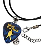 Eddie Cochran Guitar Plectrum Cord Cordon Collier Necklace Blue Pearl (GHF)