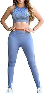 Sematomala Women's 2 Piece Yoga Outfits Tank Top Sports Bra+High Waist Seamless Leggings Set Workout Athletic Gym Clothes