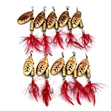 Bass Trout Salmon Hard Metal Spinner Kit de cebos con cajas de aparejos, 10 unids de pesca de pesca Spinner Bait