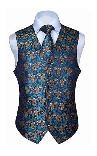 Hisdern Hisdern Manner Paisley Floral Jacquard Weste & Krawatte und Einstecktuch Weste Anzug Set, Aqua & Brown, Gr.-XS (Brust 39 Zoll)