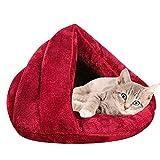 Vejaoo Saco de Dormir Cálido Cuevas casa Sleeping Bed Noble Cama para Perros y Gatos Puppy Conejo Mascota XZ001 (S: 50 * 37 * 29cm, Wine Red)