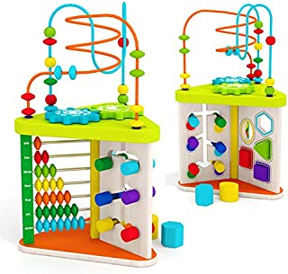 acooltoy ACOOL Toy Wooden Activity Cube Multifunction Learning Color Sorter Bead Maze 5-in-1 Toys Educational and Learning for Boys and Girls