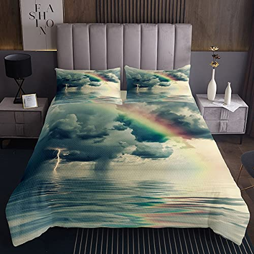 Colcha acolchada para niños, color azul oscuro, azul oscuro, mar de las nubes, paisaje de la naturaleza, funda de cama de color verde oscuro, 2 unidades