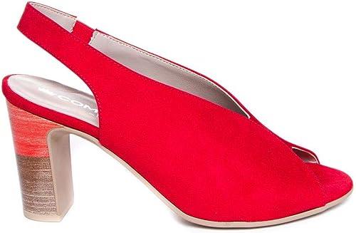 Zapato de tacón rojo - Ante Piel - Leyland by SUAVE 6077