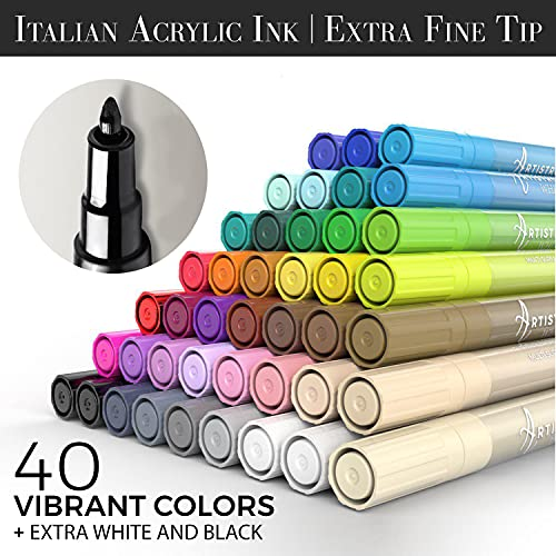 Acrylic Paint Pens - 42 Acrylic Paint Markers - Extra Fine Tip Paint Pens (0.7mm) - Great for Rock Painting, Wood, Canvas, Ceramic, Fabric, Glass - 40 Colors + Extra Black & White Acrylic Markers Photo #2