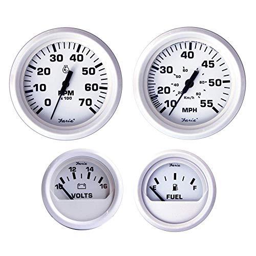 Faria KT9794 Dress White Outboard 4-Gauge Boxed Set - Speedometer/Tachometer/Fuel Level/Voltmeter