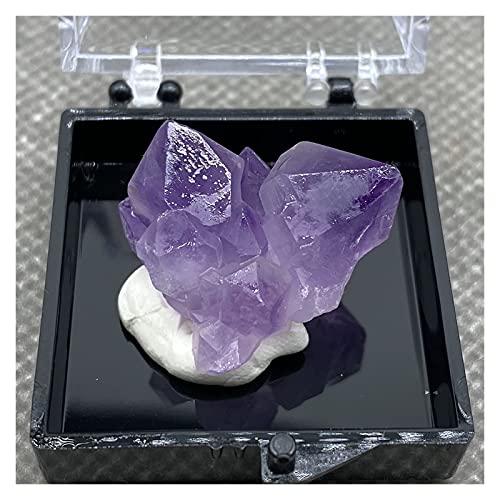 YSJJDRT Cristal Natural Rugoso El Cristal púrpura Natural es Muy Hermoso + Caja 35 * 35 * 35mm 7#