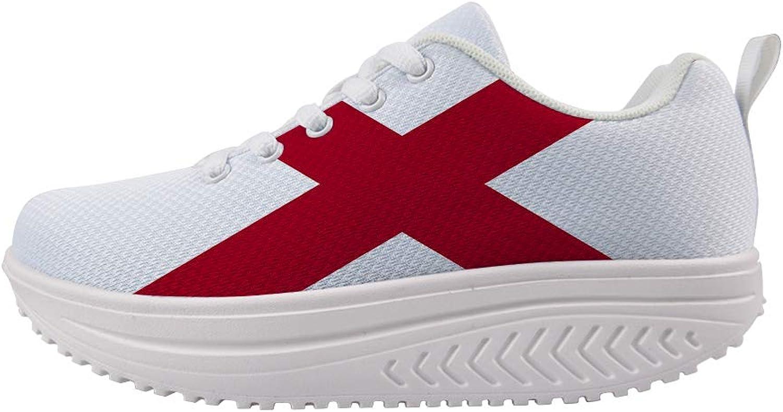 Owaheson Swing Platform Toning Fitness Casual Walking shoes Wedge Sneaker Women Alabama Flag