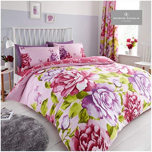 GAVENO CAVAILIA Luxury Flower Print Botanical Quilt Bedding Set Floral Duvet Cover, Pink, Double