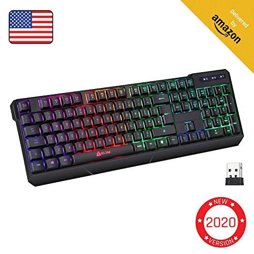 KLIM Chroma Rechargeable Wireless Gaming Keyboard + Slim, Durable, Ergonomic, Quiet, Waterproof,...