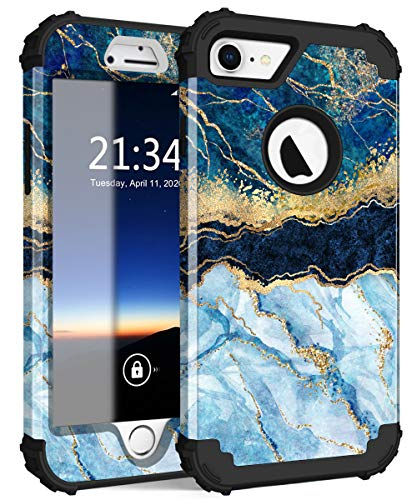 Hocase iPhone 8 Case iPhone 7 Case, Shockproof Protection Heavy Duty Hard Plastic+Silicone Rubber Bumper Full Body Protective Case for iPhone 8, iPhone 7 (4.7-Inch Display) - Blue Marble