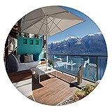 Mantel ajustable de poliéster con bordes elásticos, para mesas redondas de 45 a 48 pulgadas, para comedor, cocina, fiesta, azul, marrón y blanco