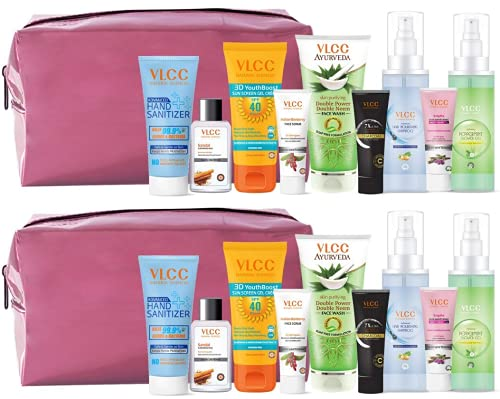 VLCC Nourish & Shine Kit with Pouch (Assorted Color) | skin Care, Hair Care, hygiene Essentials Combo for women | beauty combo set for women | VLCC beauty gift set | Skin care combo - Pack of 2