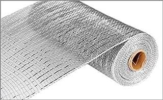 10 inch x 30 feet Deco Poly Mesh Ribbon - Value Mesh (Silver, Silver Foil)