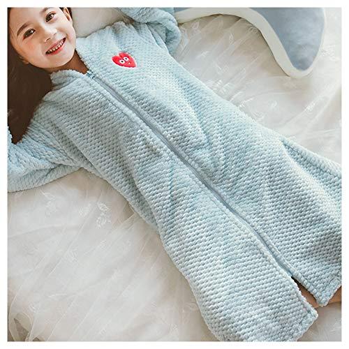 C αγάπη Ζ Pijama Infantil, Albornoz Femenino Coral niña de Terciopelo Princesa Pijamas otoño e Invierno Engrosamiento Franela con Cremallera(Dos Colores Son Opcionales),Azul,150