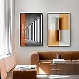 bajbajbaj1 2 Piezas simplista Moderno nórdico Espacio en Blanco y Negro Bloque Naranja Cuadro de Pintura de lámina Dorada para decoración de Sala de Estar