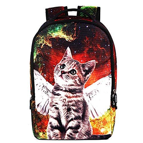 LCSD Mochilas Personality Angel Star Cat para hombre y mujer, transpirable, de poliéster, bolsa de hombro, bolsa para estudiantes, de viaje de negocio...