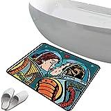 Alfombra de baño Antideslizante de Felpudo Set de Amor Alfombrilla Goma Antideslizante Espacio Hombre y Mujer San Valentín Besos Ciencia Cosmos Pareja Pop Art Diseño Impresión,Multicolor,Interior/Ext