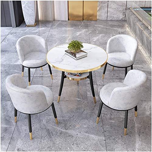 Cafe Rezeption Tische Und Stühle Set 4 Zeitgenössisches Design Einfache Art 80 cm Aus Holz Runden Tisch Familie Wohnzimmer Restaurant Empfangsraum Empfangsraum Rezeptor 1 Tisch 4 Stühle (Color : 1)