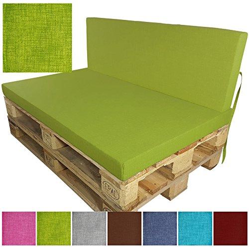 DILUMA Palettenkissen Tino Sitzkissen 120x80 cm apfelgrün - Sitzauflage für Palettensofa Indoor Outdoor - schmutzabweisende und Wasserabweisende Palettenauflage