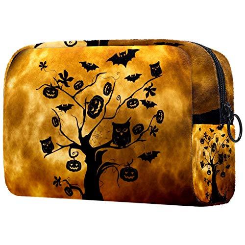 Bolso de Organizador Maquillaje en Viaje Bolsa Cosmetica Bolsa de Neceser con Gran Capacidad Almacenamiento de Maquillaje Cosmético Neceseres de Viaje Árbol de Halloween 18.5x7.5x13cm