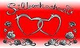 FRIP - Silber Hochzeit Herzen Fahne 1,50 x 0,90m Flagge Fahnen mit 2 Ösen 4550