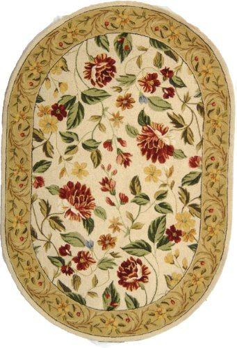 Safavieh Chelsea Collection HK117A Hand-Hooked Ivory and Beige Premium Wool Oval Area Rug (7'6' x 9'6' Oval)