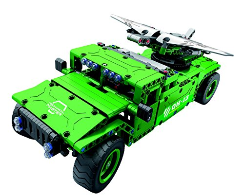 Bo-Toys R/C Military SUV UAV Carrier with Aerial Drone Building Bricks Radio Control Toy, 506 Pcs Off Road car Kit with USB Rechargeable Battery, Construction Build It Yourself Toys